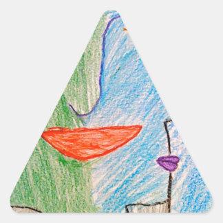 visage vert et bleu sticker triangulaire