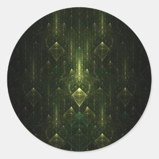 Visages foncés de vert vert. Fractale art. Autocollant Rond