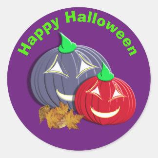 Visages heureux mignons de citrouille de Halloween Sticker Rond