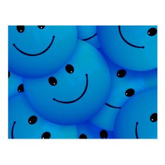 Visages souriants bleus heureux frais d'amusement carte postale
