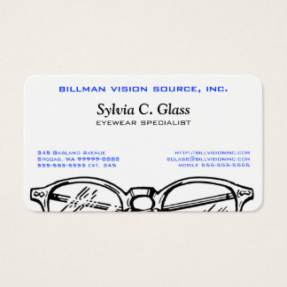 Vision optique de lunetterie de lunettes cartes de visite