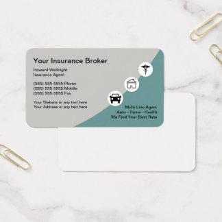 Visitekaartjes van de Makelaar van de verzekering
