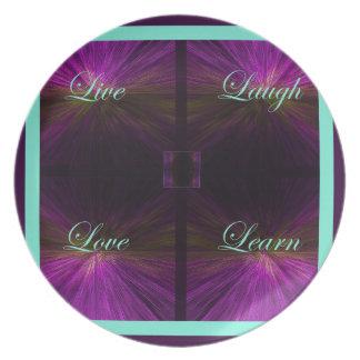 Vivant, amour, rire, apprenez - le pourpre assiettes en mélamine