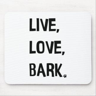 Vivant, amour, tapis de souris d'écorce