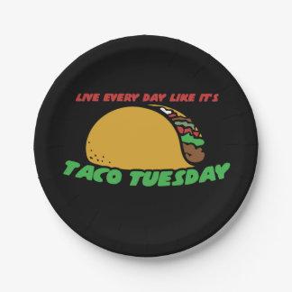Vivent chaque jour comme c'est taco mardi assiettes en papier