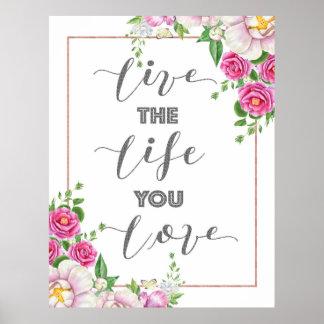 Vivent la vie où vous aimez des fleurs et la