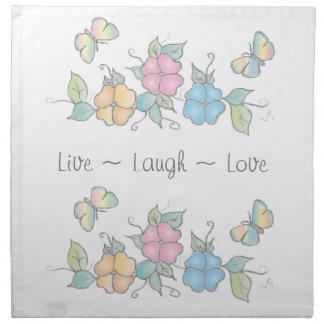 Vivent l'aquarelle florale de papillon du rire   serviettes de table