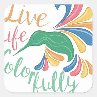 Vivez coloré sticker carré
