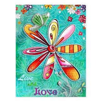 Vivez et aimez la carte postale florale