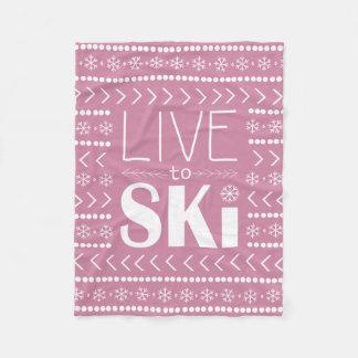 Vivez pour skier couverture - rose