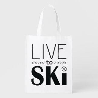 Vivez pour skier sac réutilisable
