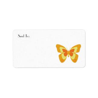 Vlinder in sinaasappel en geel etiket