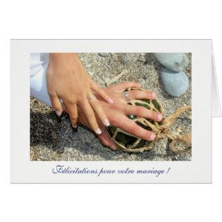Voeux de mariage alliances mer plage sable galet carte de correspondance