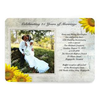Voeux de mariage de renouvellement de photo grunge carton d'invitation  12,7 cm x 17,78 cm