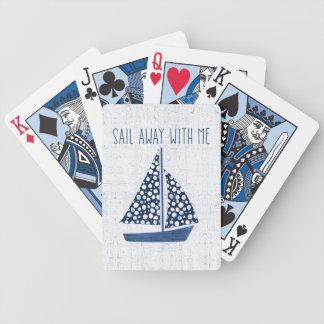 Voile nautique de la citation | loin avec moi jeu de cartes