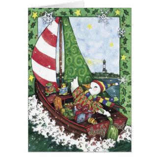 Voilier chanceux de canard, carte de Noël