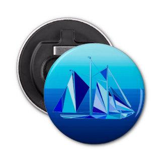 Voilier/yacht géométriques modernes, bleu de décapsuleur