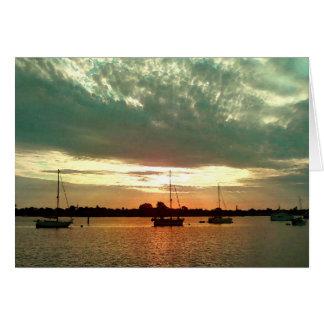 Voiliers au lever de soleil - carte