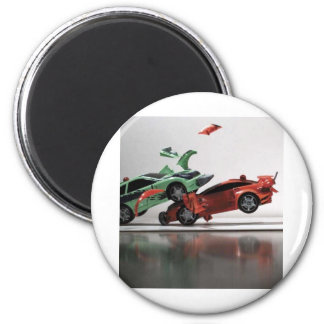 voiture-accident magnet rond 8 cm