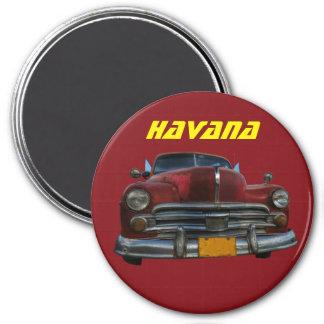 Voiture américaine classique à La Havane, Cuba Magnet Rond 7,50 Cm