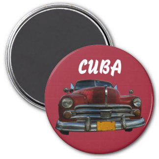 Voiture américaine classique dans Vinales, Cuba Magnet Rond 7,50 Cm