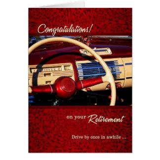 Voiture classique de félicitations de retraite carte de vœux
