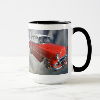Voiture classique rouge chique, tasse de café de
