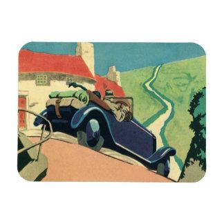 Voiture convertible vintage sur une route de magnet en vinyle