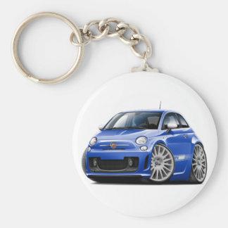 Voiture de bleu de Fiat 500 Abarth Porte-clé Rond