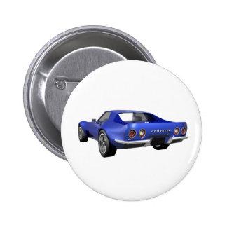 Voiture de sport 1970 de Corvette : Finition bleue Badge Rond 5 Cm
