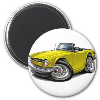 Voiture jaune de Triumph TR6 Magnet Rond 8 Cm