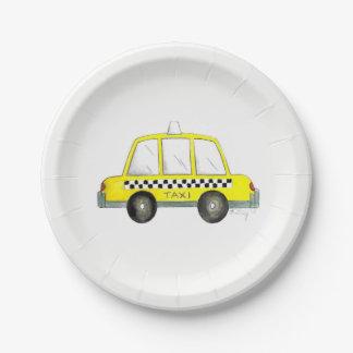 Voiture noire de taxi du jaune NYC New York City Assiettes En Papier