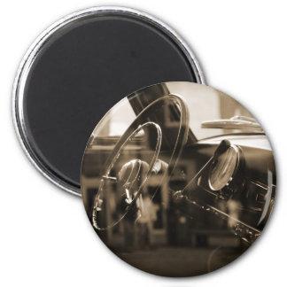 Voiture vintage magnet rond 8 cm