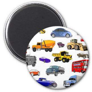 voitures de course d'autobus de bouteur de magnet rond 8 cm