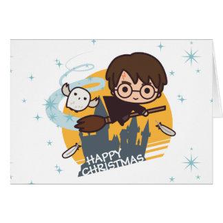 Vol de Harry et de Hedwig après Noël de Hogwarts Carte De Vœux