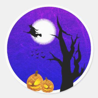 Vol de sorcière par des autocollants de Halloween