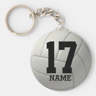 Volleyball personnalisé (nom et nombre) porte-clé rond