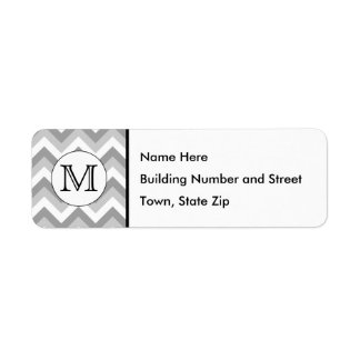 Votre lettre. Monogramme gris de motif de zigzag Étiquettes D'adresse Retour