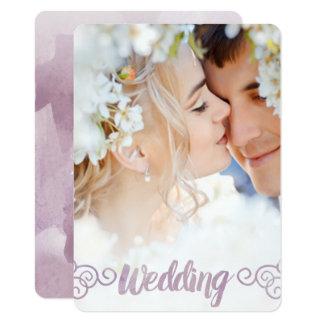 Votre mariage d'aquarelle de lavande de photo carton d'invitation  11,43 cm x 15,87 cm