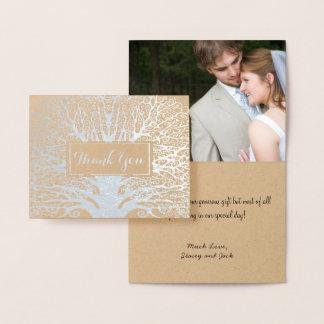 Votre Merci de mariage de chêne d'aluminium Carte Dorée