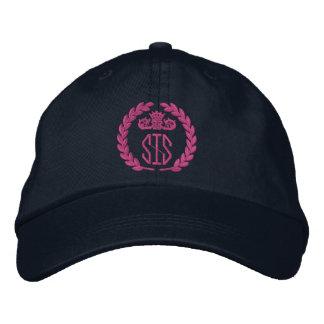 Votre monogramme jusqu'à la broderie de 3 lauriers chapeau brodé