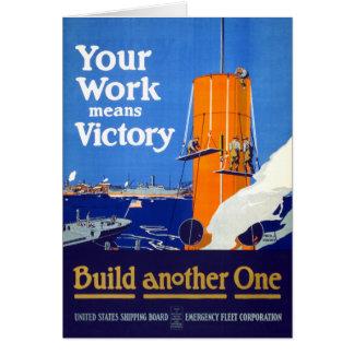 Votre travail signifie l'affiche vintage de la carte