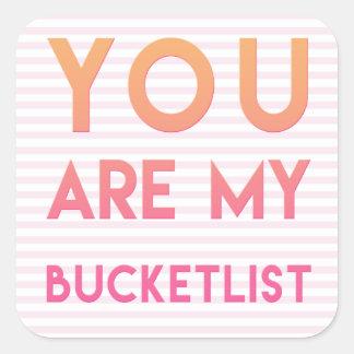 Vous êtes mon Bucketlist - amusement, citation Sticker Carré