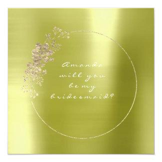 Vous serez mon vert de citron en métal d'or de carton d'invitation  13,33 cm