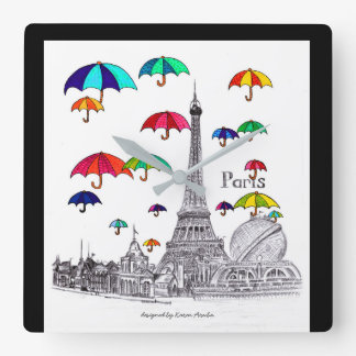 Voyage avec Tour Eiffel de Parapluie-Paris Horloge Carrée