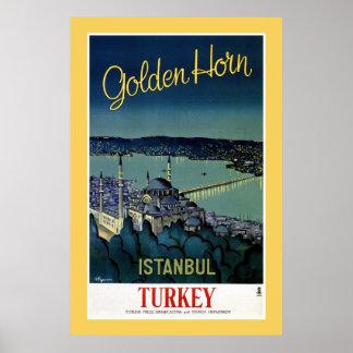 Voyage d'or vintage d'Istanbul Turquie de klaxon