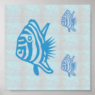 Voyage graphique de voile de mer de poissons de poster