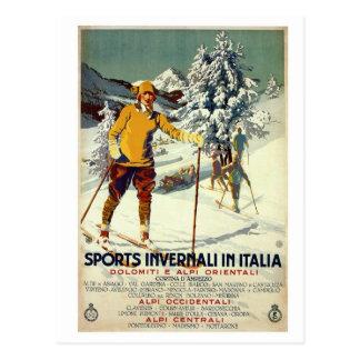 Voyage italien des années 1920 d'hiver d'annonce carte postale