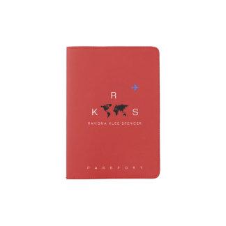 voyage rouge de monogramme protège-passeports