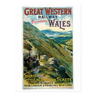 Voyage vintage à l'annonce du Pays de Galles Carte Postale